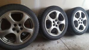 Set of 4 5x100 JDM Subaru bronze rims with GT Radial Winter Tire