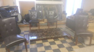 Marble  top table (Browns)  6 new leather chairs