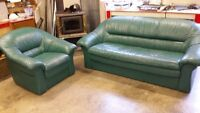 Green leather couch and chair