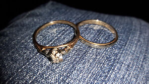 10 and 14k Gold diamond ring and gold band.I think a size 8
