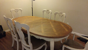 Solid Wood 4-8 Person Table with 6 Wood Chairs