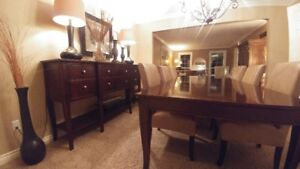 Solid mahogany wood inlayed table, leather chairs and sideboard