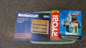 Ryobi Router and 36 Router Bit Set
