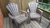 Two Plastic Muskoka Chairs for $20