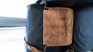 Genuine calf skin leather lap top messenger bag