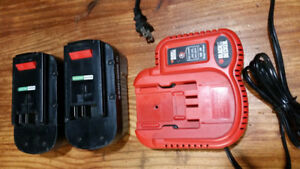 Black & Decker battery charger 18V and 9.6V and 2 batteries