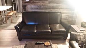 2 Sofa brun chocolat en cuir