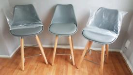 Brand new 3 grey bar stools