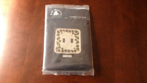 Cross stitch, new, for double light switch, fabric, threads