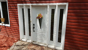 STEEL ENTRANCE  DOOR WITH 4 BEVELED GLASS SIDELIGHTS