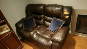 Free cracked leather couch set