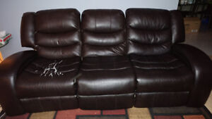 Super Comfortable 3 seater reclining couch - Bonded Leather