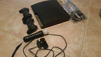 Playstation 3 Slim 320GB with PS Move, 2 Controllers and 3 Games
