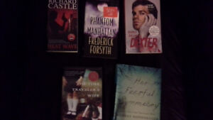 5 hard & soft cover & paperback fiction books. Dexter, Castle...