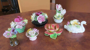 collection of English bone china ornamental flowers