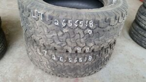 Pair of 2 BFGoodrich All Terrain TA KO LT265/65R18 tires (50% tr