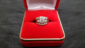 14K White Gold Diamond Engagement Ring & Wedding Band Set