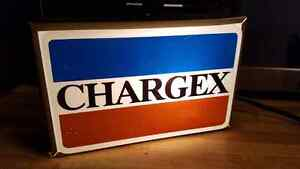 Antique light-up CHARGEX counter sing