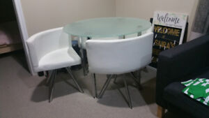 DINING SET WITH 4 WHITE LEATHER CHAIR - GLASS TOP - SPACE SAVING