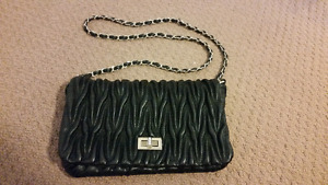 black and gold quilted purse/ side bag