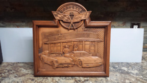 Beautiful Wooden Craved Corvette Wall Plaque