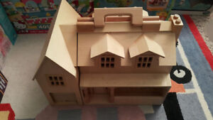 melissa & doug wooden fold and go doll house with furniture