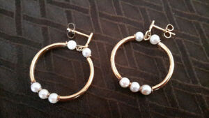 Antique Pearl Hoop Earrings