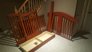 Cherry wood crib with mattress great condition
