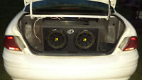 """1200 watt mtx amp with 2-12 """" kicker comp subs in a ported box"""