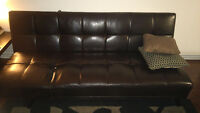 DARK BROWN FAUX LEATHER FUTON/SOFA