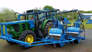 DBE Double Blueberry Harvester w/ Bin Loader mounted on JD 7230