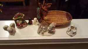 Christmas decor - porcelain and reindeer basket