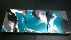3 Modern Original Abstract Acrylic Paintings on Gallery Canvas