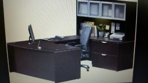 Executive Office Desk with Overhead Hutch + Seperate Hutch-