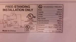 3.6 cu.ft chest freezer for sale