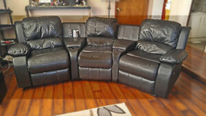 Home Theater Faux Leather Recliner Sofa