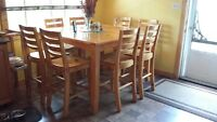 Solid Pine KitchenTable and 8 Chairs
