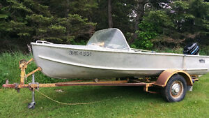 15 ft aluminum boat with motor and trailer