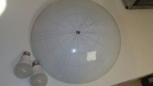 "20"" roung glass 80s light fixture classic antique"