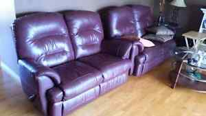 2 burgundy couch    needs gone ASAP