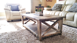 Rustic Coffee and End Tables - accent furniture (breadboard top)