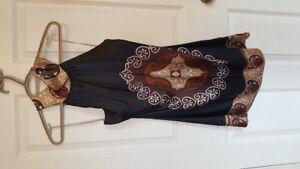 High neck silk halter style shirt