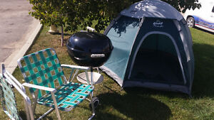 100$ 3 person tent, 2 folding chairs & Weber BBQ all accessories