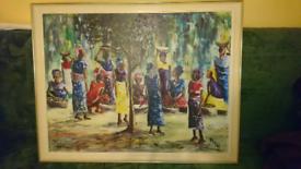 Vintage 1969 Hand Painted Large Colourful Picture 94cm x 74cm