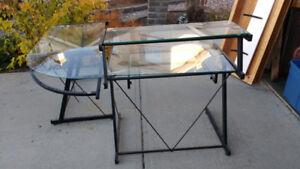L shape glass computer desk