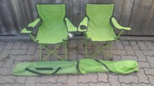 2 chaises de camping pliables pour petits
