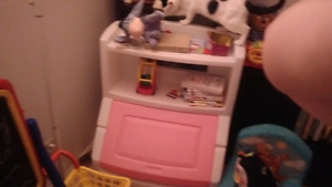 Playschool white and pink toybox and boom shelve