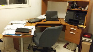 computer desk with drawers and chair