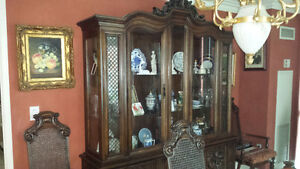 Solid wood ornate carved dinning set buffet/hutch table + chairs