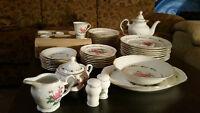 Gibson Housewares China Victorian Rose Pink Roses Set